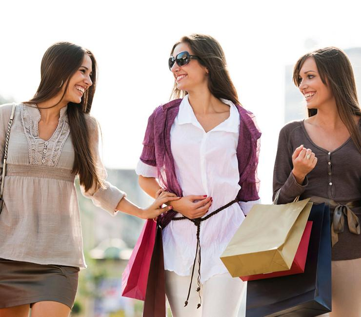 Group of women enjoying a day of shopping