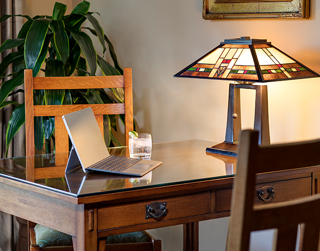 Reserve Room Desk with lamp