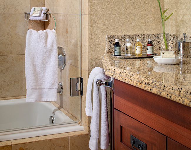 Signature Room bathroom with amenities
