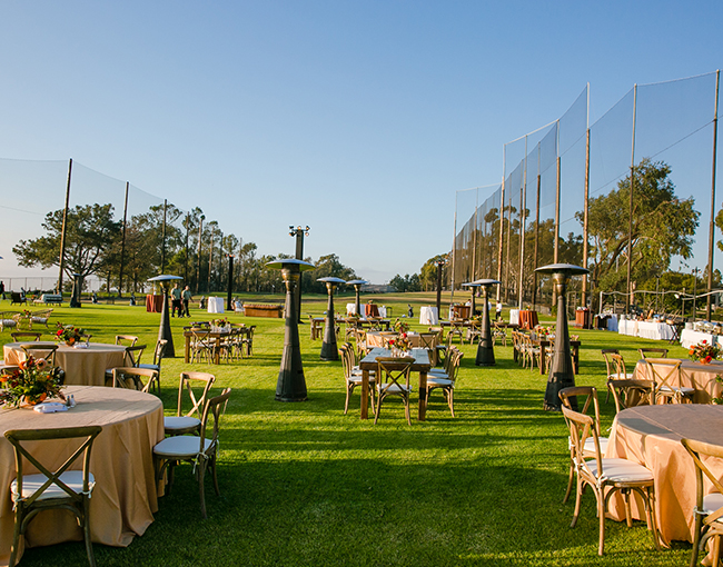 Outdoor La Jolla event and meeting space set up on the greens at the Torrey Pines Golf Course.