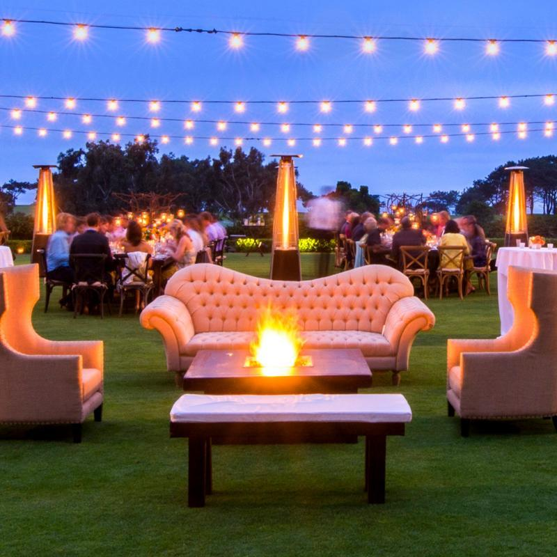 La Jolla event and meeting space featuring a lounge area with sofas and fire pit on the Arroyo Terrace at The Lodge at Torre Pines