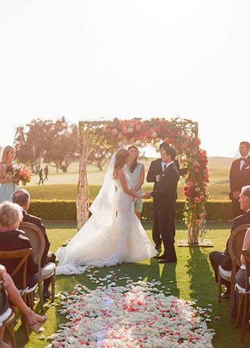 Wedding ceremony on the Arroyo Terrace at The Lodge at Torrey Pines