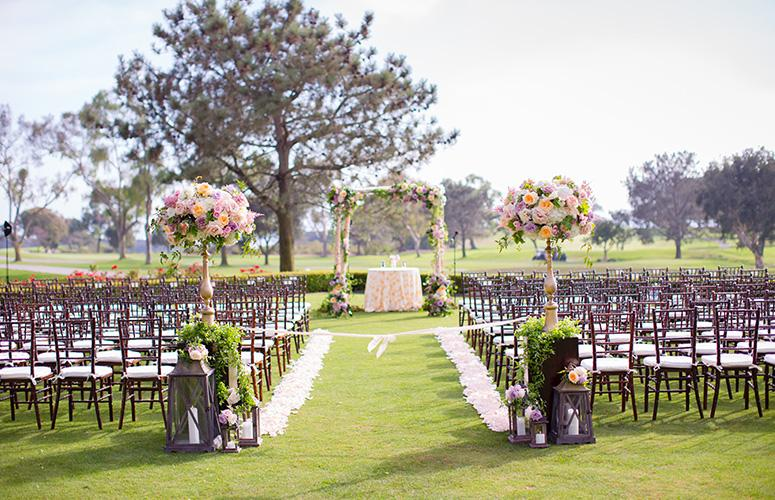 Wedding ceremony overlooking Torrey Pines golf course