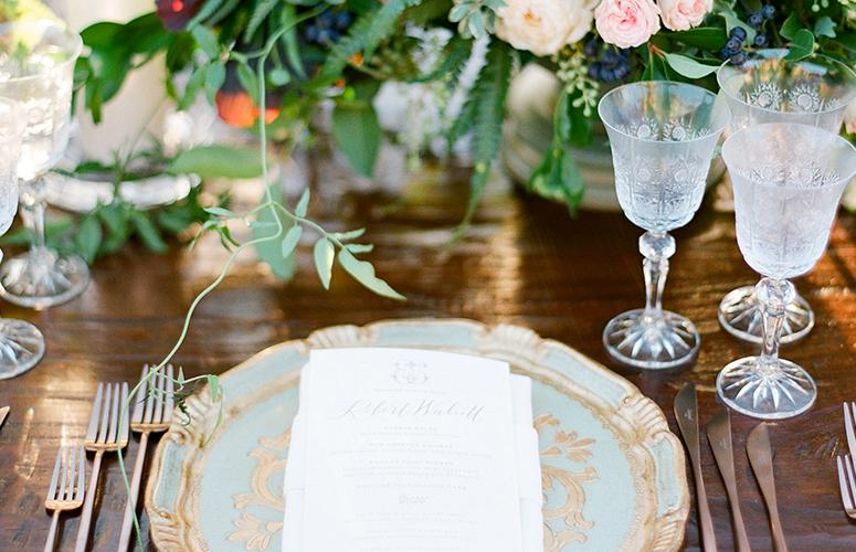 Close up of a table setting on the Arroyo Terrace at the Lodge