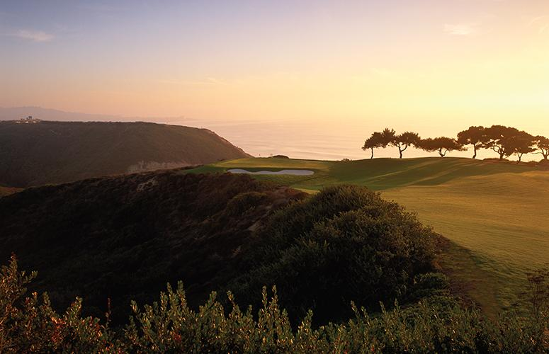 Sun setting over the Torrey Pines Golf Course