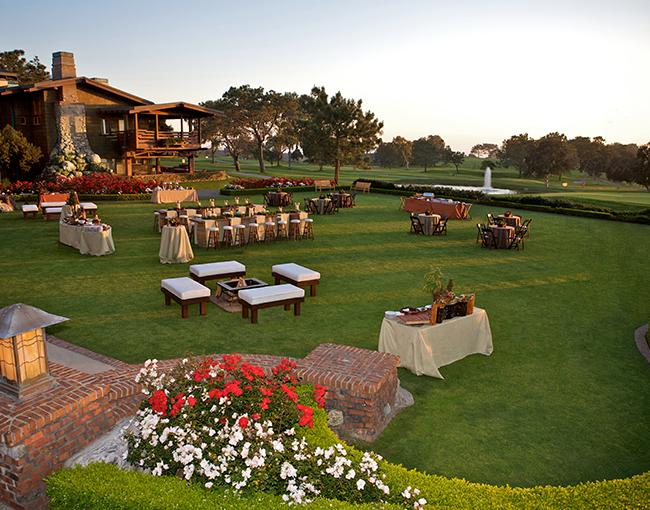 Arroyo Terrace one of the many La Jolla event and meeting space venues at The Lodge at Torrey Pines overlooking the Torrey Pines Golf Course.