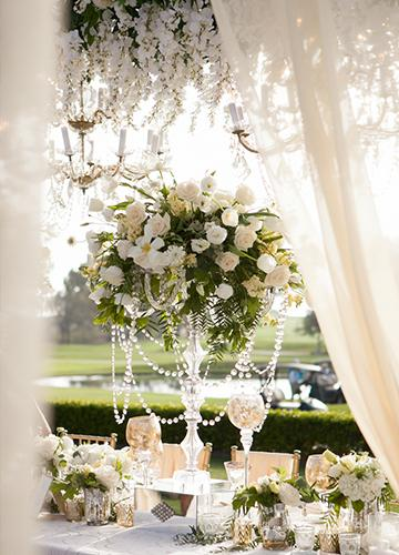 Table setting with jewels and flowers overlooking the Torrey Pines Golf Course