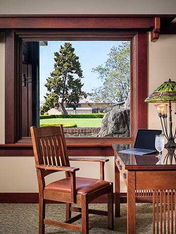 Desk looking ou to the Arroyo Terrace at The Lodge at Torrey Pines
