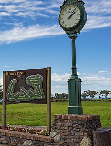 Torrey Pines Map and tee time clock