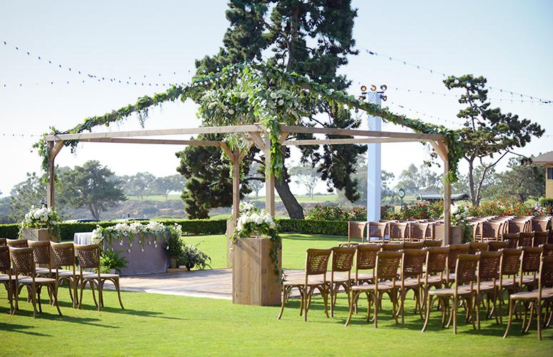 Ceremony set up on the Arroyo Terrace overlooking the Pacific Ocean