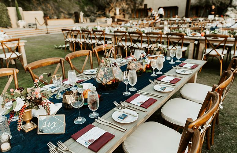 Reception set up on the Arroyo Terrace at The Lodge at Torrey Pines