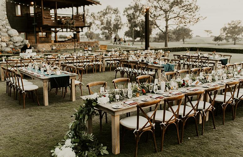 Wedding reception on the Arroyo Terrace at The Lodge at Torrey Pines